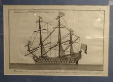 "Antique engraving ""French war ship"""