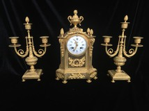 Antique clock with candelabra