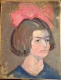 "Antique painting ""Girl with a red bow"""