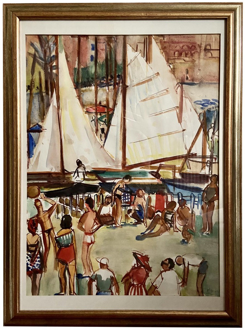"Antique painting ""On the Beach"""