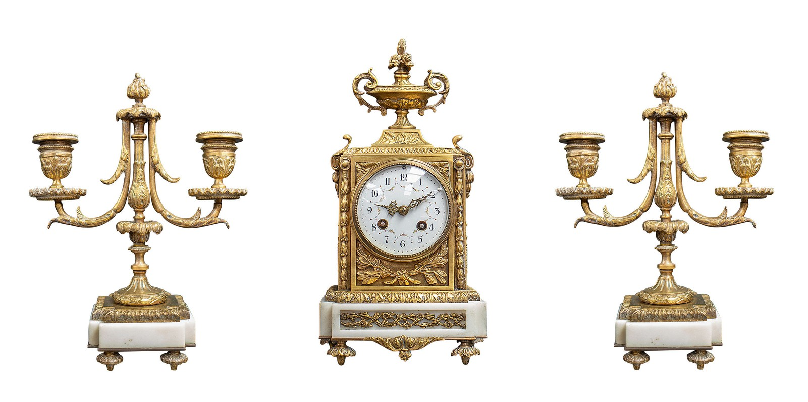 Antique mantel clock and paired candlesticks