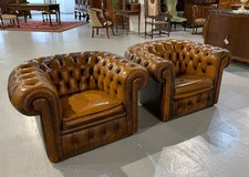 Pair antique Chesterfield armchairs