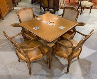 Antique game table with 4 armchairs in set