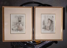 Antique pair engravings