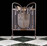 Antique armorial fire screen
