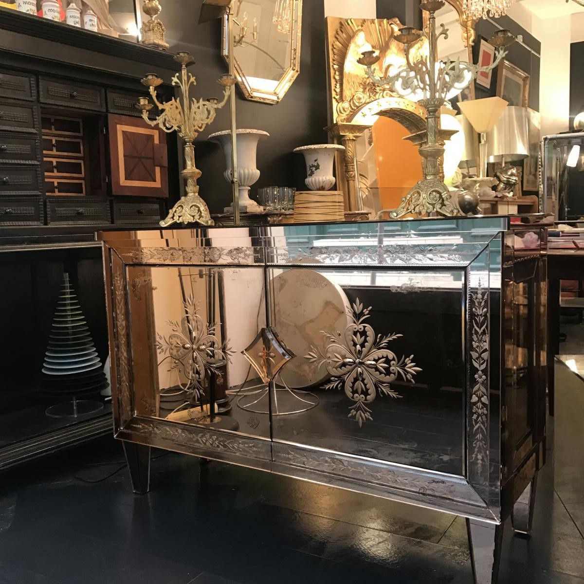 A Venetian glass mirrored commode