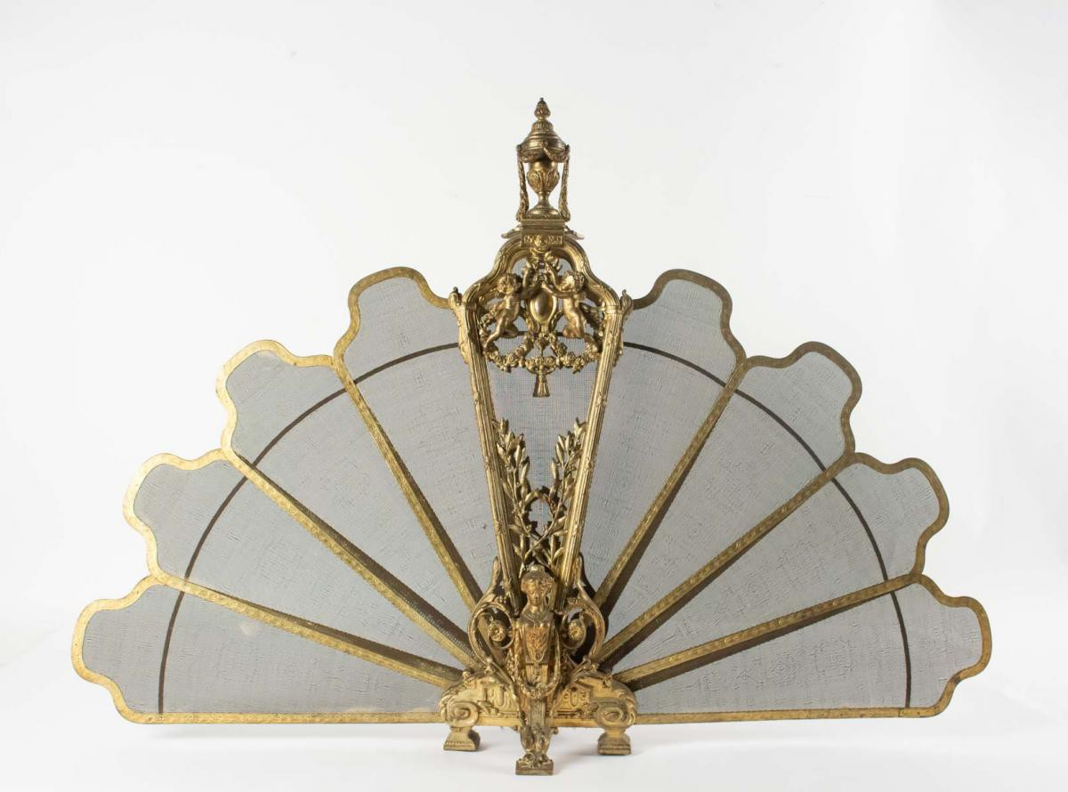 Antique Fireplace Screen Fan