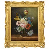 "Antique painting ""Roses with tulips"""