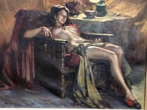 "Antique painting ""A woman waiting for intimacy"""