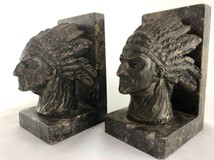 Antique pair bookends with Indians