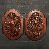 "Antique carved wall decorations ""Hunting trophies"""
