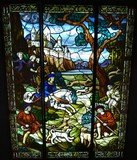 Antique stained glass representing Royal hunting