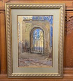 "Antique painting ""Courtyard of Bukhara"""