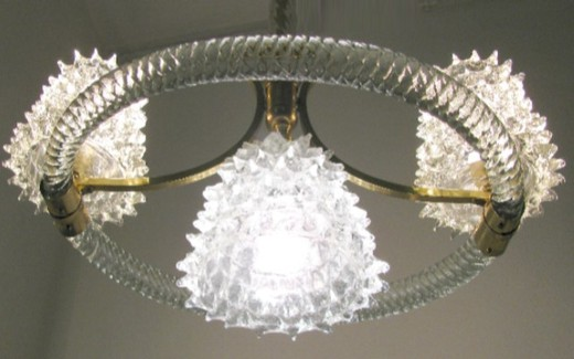 rare antique venetian glass chandelier «Barovier&Toso»