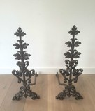 Beautiful pair of wrought iron andirons. Very fine work. End of 19th century