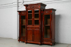 antique renaissance mahogany bookcase 1880s
