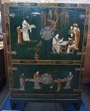 Chinese cabinet with painting and craquelure