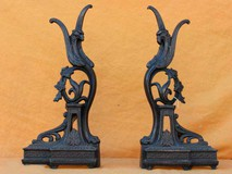Antique bronze andirons the Phoenix