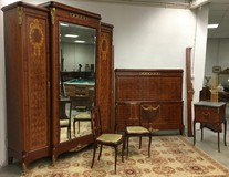 antique napoleon III bedroom in marquetry technique