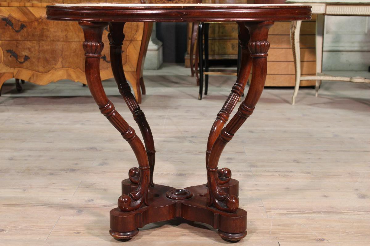 BersoАнтик Antique Spanish Mahogany Wood Table And Marble Top