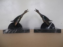 antique wild geese book ends