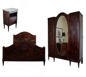 antique art deco ebony bedroom set