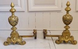 Antique fireplace Napoleon III andirons