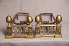 Antique bronze andirons 18th C