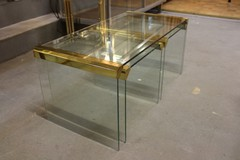 Brass and glass coffee table + 2 side tables