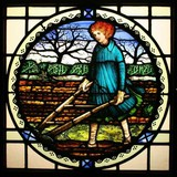 "stained glass window ""ploughing the field"""