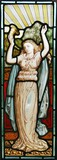 Victorian leaded stained glass Maiden and horn