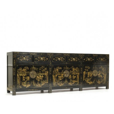Black Lacquer Sideboard Decorated with Gold Oriental Scenes