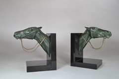 Bookends pair with horses