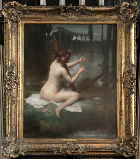 "Antique painting ""Playing the harp"""