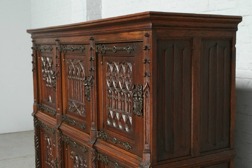 Antique gothic oak cabinet