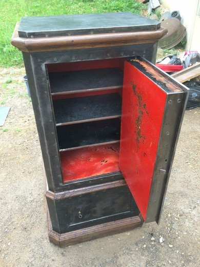 antique metal and wood safe