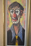 antique painting clown
