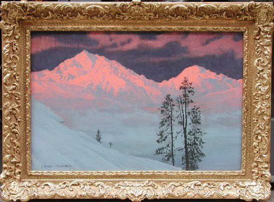 "Antique painting ""Mountains Serles and Habicht"""