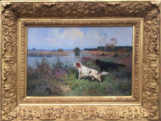"Antique painting ""Hunting dogs"""