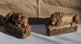"Antique pair sculptures ""Lions"""