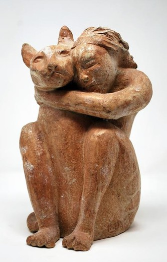 "Sculpture ""Woman with a Cat"""