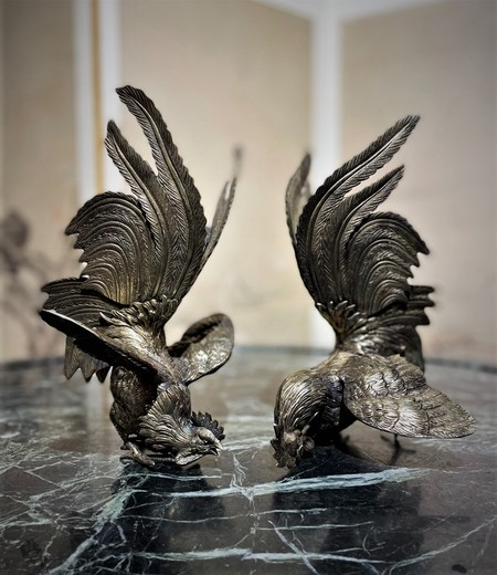 "Antique pair sculptures ""Roosters"""