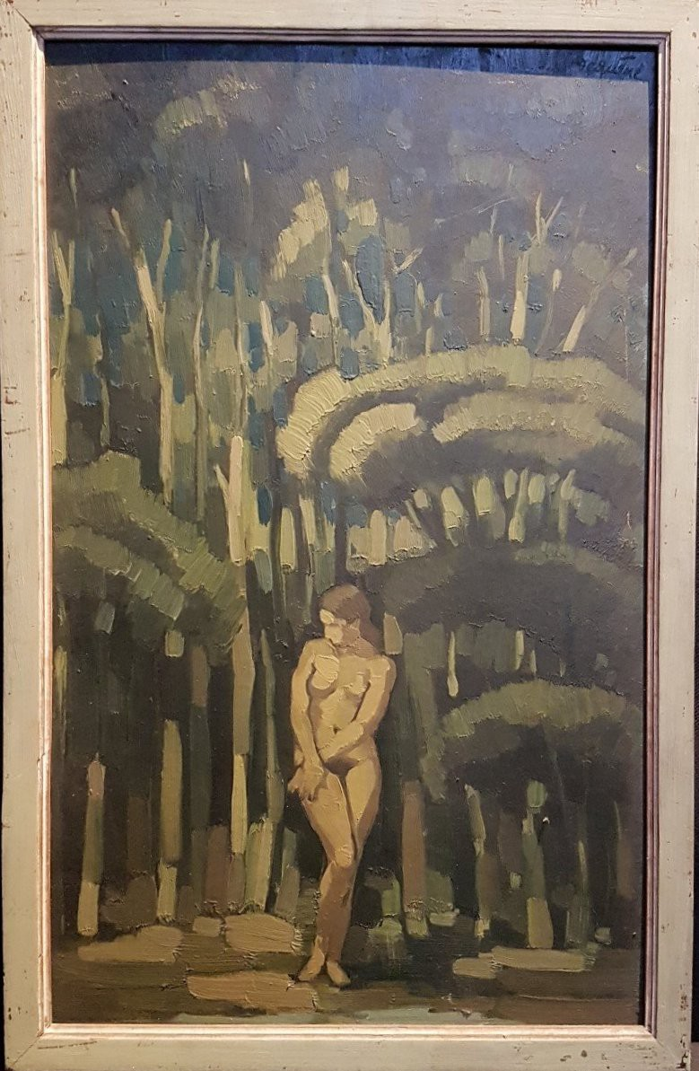 "Antique painting ""Woman in the forest"""