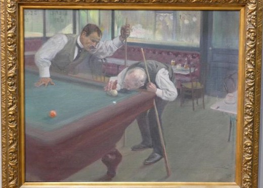 "Antique painting ""Billiard Party"""