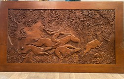 "Antique carved panel ""Hunting"""