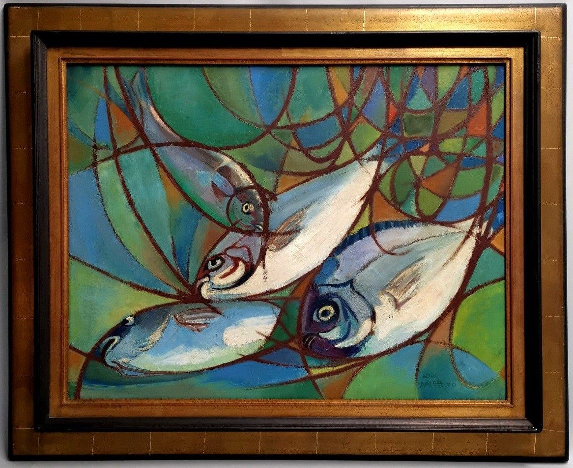 "Vintage painting ""Still life with fish"""