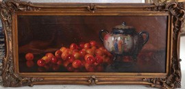 "Antique painting ""Still life with cherries"""
