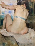 "Antique painting ""The Nude Flutist"""
