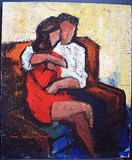 "Antique painting ""Couple in love"""