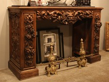 antique carved wood fire mantel